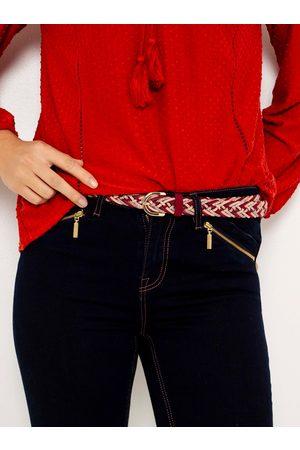 Camaïeu Červeno-krémový pletený pásek
