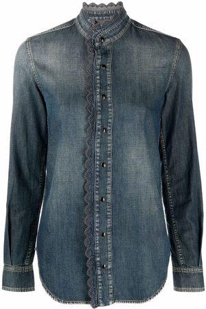 Saint Laurent Embroidered-edge denim shirt
