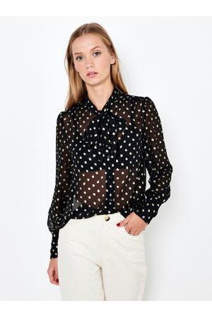 Camaïeu Černá puntíkovaná průsvitná košile