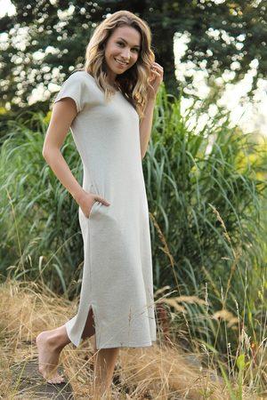 Doctor Nap Ženy Sukně & Šaty - Béžové šaty z konopné bavlny TM4301