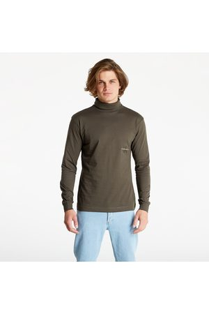 Calvin Klein Off Placed Ls Roll Neck Tee Black Olive