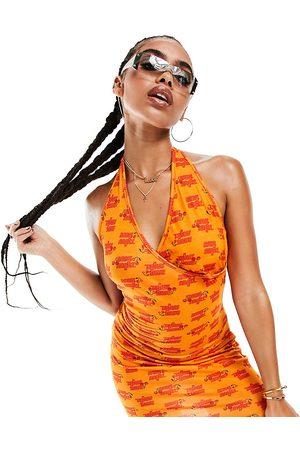AsYou Printed halter neck mini dress in orange-Multi