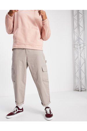 ASOS DESIGN Muži Chino - Carpenter wide leg trousers in beige-Neutral