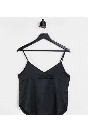 ASOS ASOS DESIGN Tall satin cami with wrap back detail in black