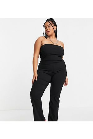 COLLUSION Ženy Overaly dlouhé - Plus bandeau bengaline jumpsuit with flare in black