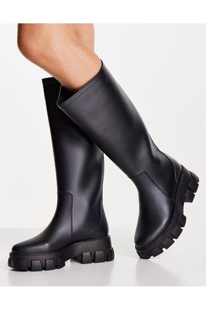 ASOS DESIGN Gracie chunky knee high wellies in black