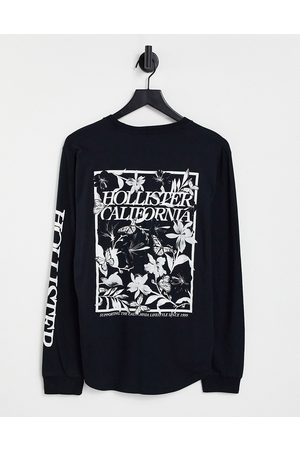 Hollister Central chest back & sleeve logo long sleeve top in black