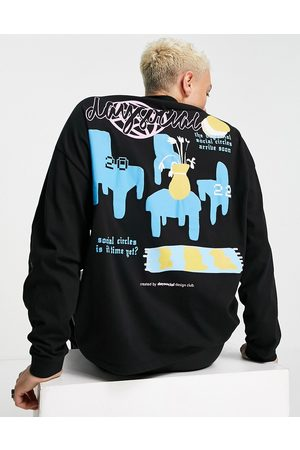 ASOS Day Social ASOS Daysocial oversized long sleeve t-shirt with 2D cartoon graphic back print in black