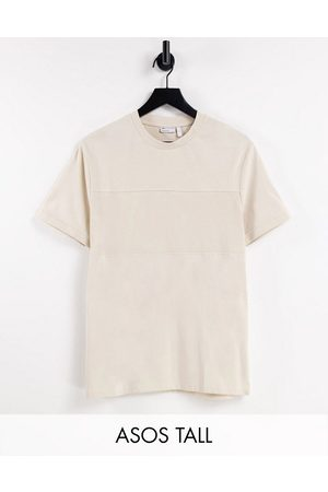 ASOS DESIGN T-shirt with cut and sew pique panel detailing in beige-Neutral