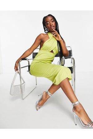 ASOS DESIGN Halter cross front midi dress in olive-Green