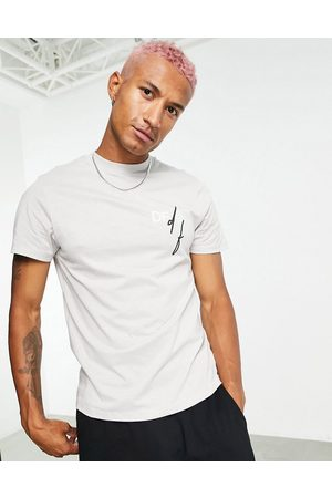 ASOS T-shirt in grey violet with printed chest logo in organic cotton