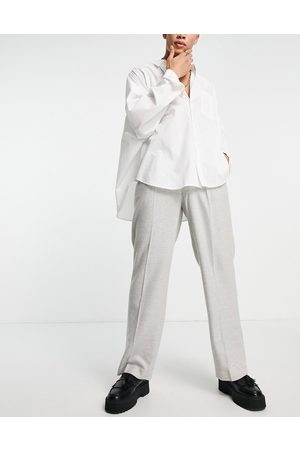 ASOS DESIGN High waist wide leg wool mix suit trouser in ice grey twill