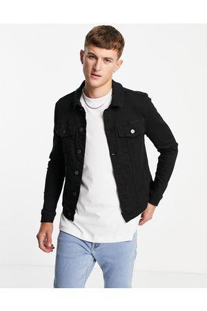 River Island Muži Džínové bundy - Muscle fit denim jacket in black