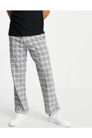 Topman Muži Chino - Wide leg check trousers in grey and white-Black