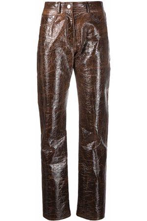 MSGM Faux-leather slim-cut trousers