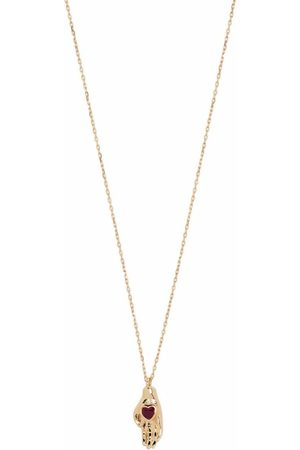 PAMELA LOVE 14kt yellow gold Heart In Hand ruby necklace
