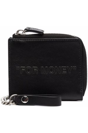 OFF-WHITE DEBOSSED QUOTE CHAIN WALLET BLACK BLACK