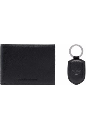 Emporio Armani Folded leather wallet and tag