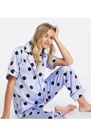 Pieces Maternity Ženy Spodní prádlo soupravy - Satin shirt pyjama set in blue polka dot