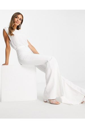 ASOS DESIGN Chiffon top belted flared leg jumpsuit in white