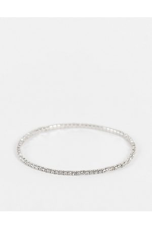 ASOS DESIGN Stretch bracelet with crystal in silver tone