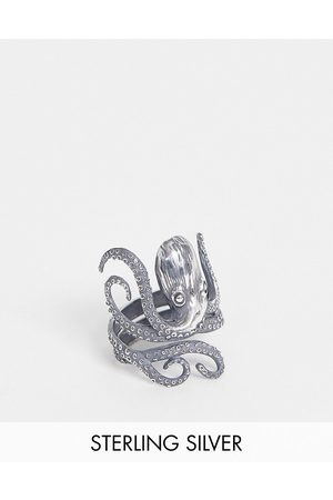 ASOS DESIGN Sterling silver ring with octopus