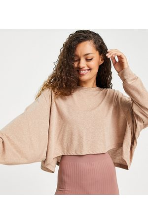 ASOS 4505 Petite yoga long sleeve top with open back detail-Neutral