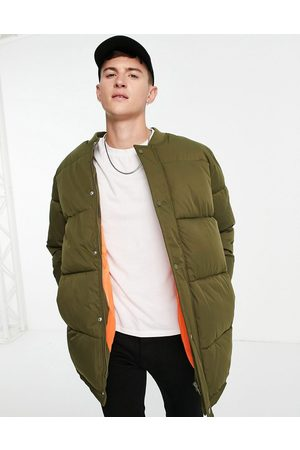 ASOS Longline quilted bomber jacket in khaki-Green