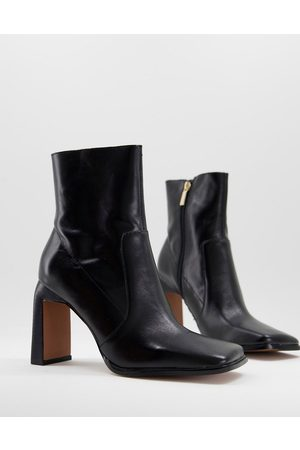 ASOS Embrace leather high-heeled square toe boots in black