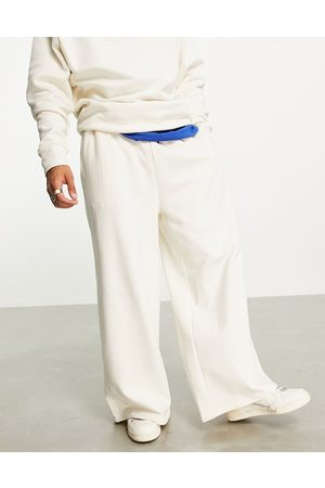 ASOS DESIGN Co-ord heavyweight oversized wide leg joggers in off white