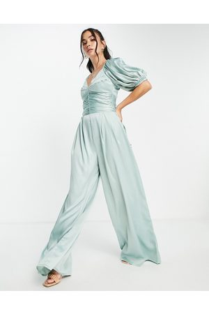 ASOS DESIGN Exaggerated sleeve satin jumpsuit in sage green