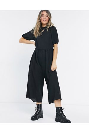 ASOS DESIGN Ženy Overaly dlouhé - Frill neck smock jumpsuit in black