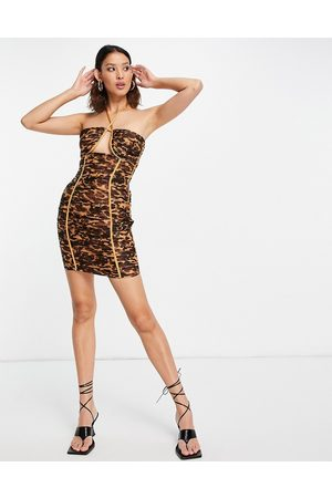 ASOS DESIGN Halter neck ruched mini dress with ruffle trim in tortoise shell-Multi