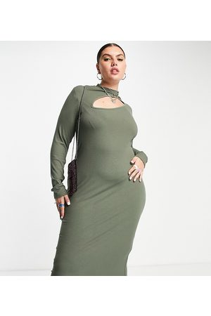 ASOS ASOS DESIGN Curve ribbed dress with asymmetric cut out detail and long sleeves with thumbholes-Green