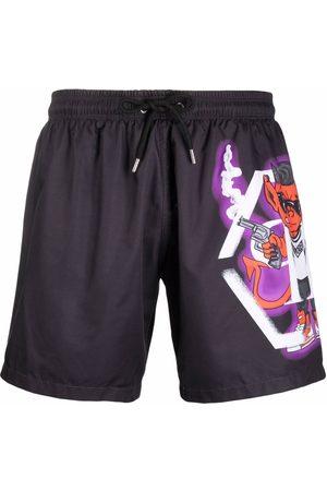 Philipp Plein Devil logo print shorts