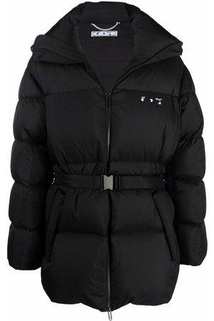 OFF-WHITE Muži Péřové bundy - Hands Off belted puffer down jacket