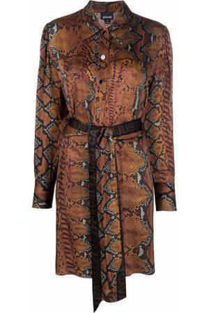 Roberto Cavalli Snake-pattern logo belt dress