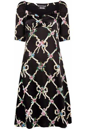 Boutique Moschino Ženy S potiskem - Floral argyle satin dress