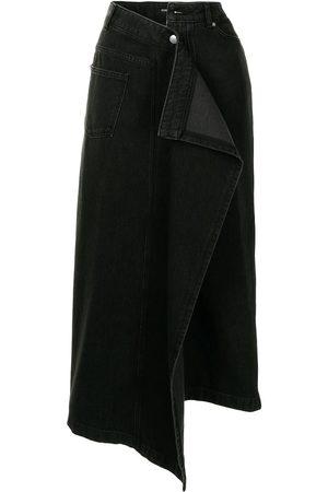 Goen.J Ženy Midi - Asymmetric draped denim midi skirt
