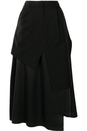 Goen.J Ženy Midi - Layered asymmetric midi skirt
