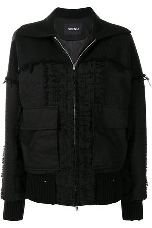 Goen.J Frayed tweed patchwork bomber jacket