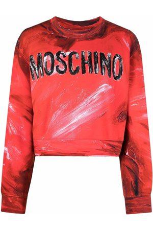 Moschino Ženy Mikiny bez kapuce - Brushstroke logo-print cropped sweatshirt