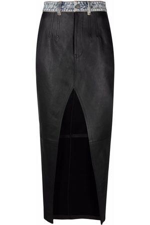 Alexander Wang Ženy Kožené sukně - Front slit long leather skirt