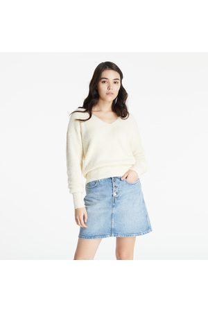 Calvin Klein Jeans Fluffy V-Neck Sweater Muslin