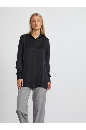 METROOPOLIS Černá dámská dlouhá košile Angela