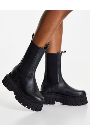 ASOS Addison chunky leather chelsea boots in black