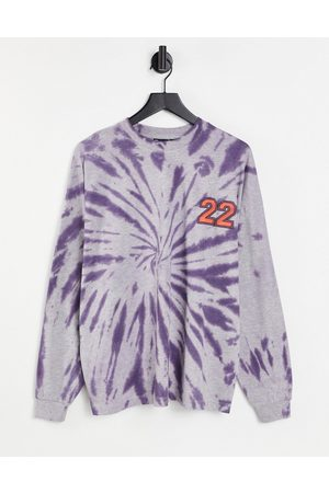ASOS DESIGN Oversized long sleeve t-shirt in purple grey marl tie dye with chest print-Multi