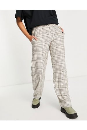 Topshop Muži Rovné nohavice - Co-ord check straight leg pull on trouser in beige-Neutral