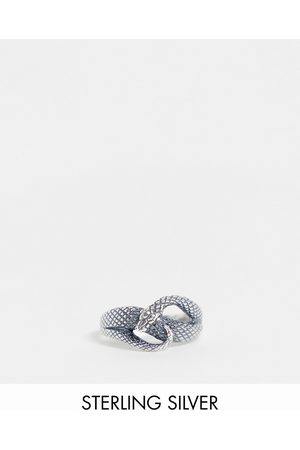 ASOS Muži Prstýnky - Sterling silver ring with wrap around snake design in silver