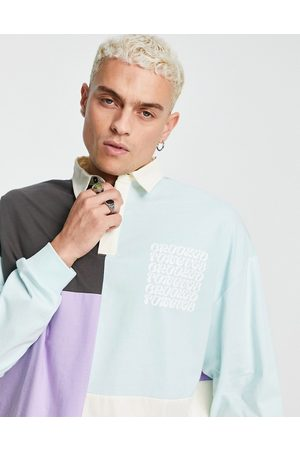 Crooked Tongues Muži S dlouhým rukávem - Rugby polo long sleeve tshirt with print in colourblock-Multi